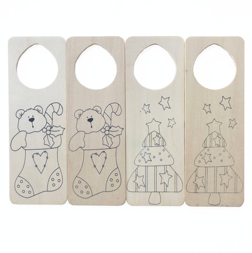 Christmas Wooden Paintable Door Hangers 4 Ct