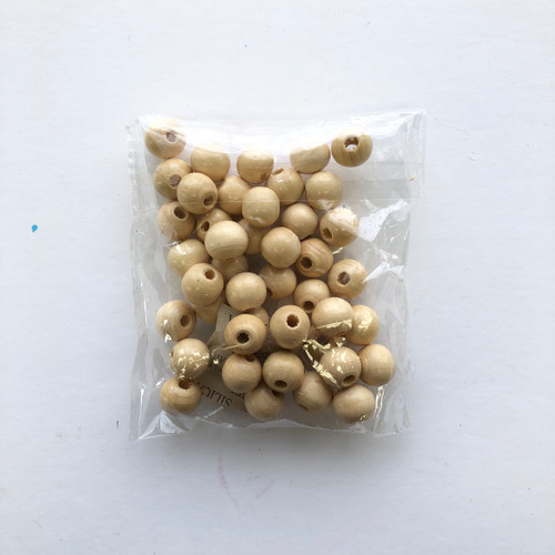 "Wooden Sphere Beads 1/2"" Light Wood 45 Count"