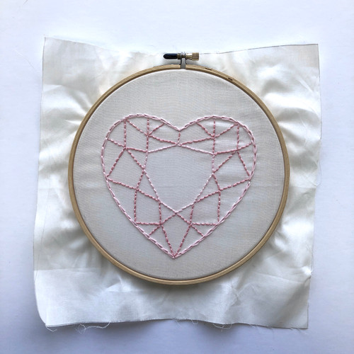 "UFO Unfinished Object Gem Heart Embroidery in 7"" Hoop"