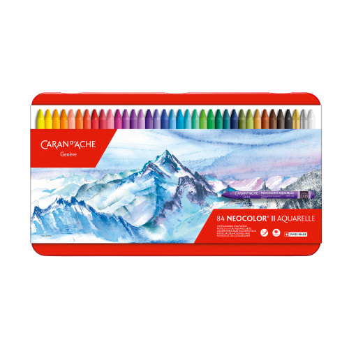 Caran D'Ache Neocolor II Water-Soluble Pastels Metal Box 84 Count