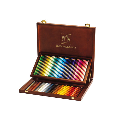 Caran D'Ache Supracolor Soft Aquarelle Watercolor Pencils Wooden Box 80 Count
