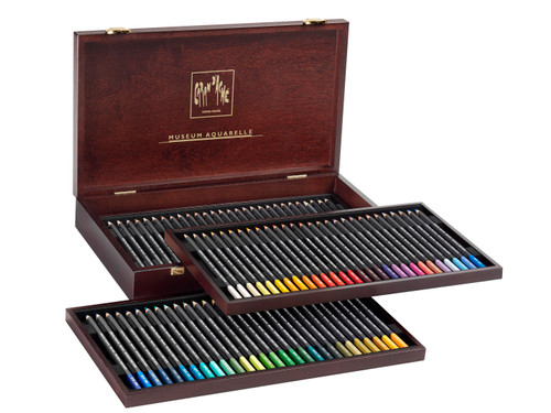 Caran D'Ache Museum Aquarelle Water-Soluble Colored Pencils Wooden Box 84 Count