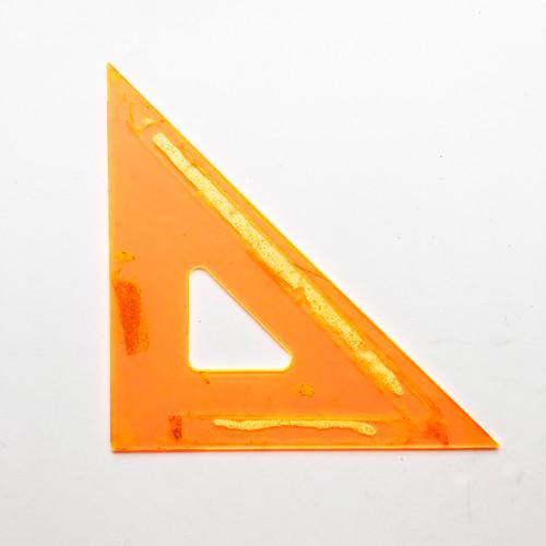 "Vintage Fluorescent Orange 8"" 45/90 Degree Triangle"