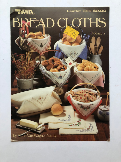 Vintage Leisure Arts Bread Cloths by Anne Van Wagner Young 389 Cross Stitch Pattern Booklet Charts Leaflet