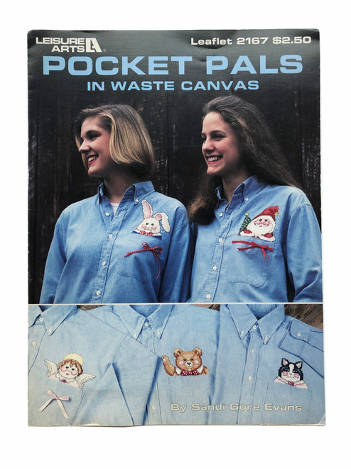 Vintage Leisure Arts Pocket Pals in Waste Canvas Cross Stitch Pattern Booklet Charts Leaflet