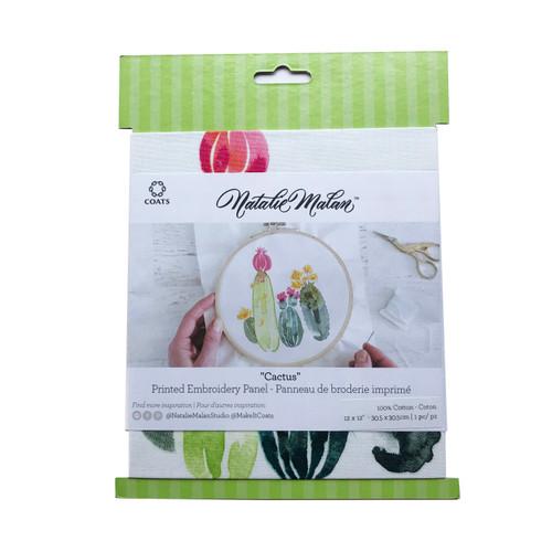 "Coats Natalie Malan Cactus Printed Embroidery Panel 12 x 12"""
