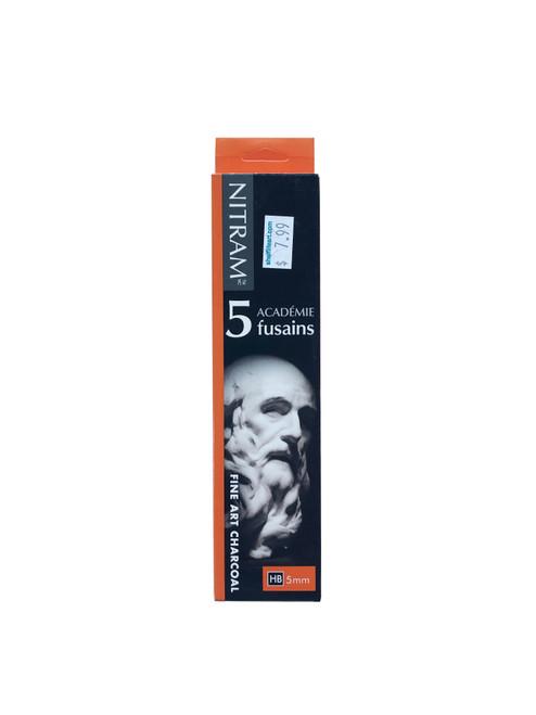 Nitram Academie Fusains Fine Art Charcoal 5mm HB 5-Pack