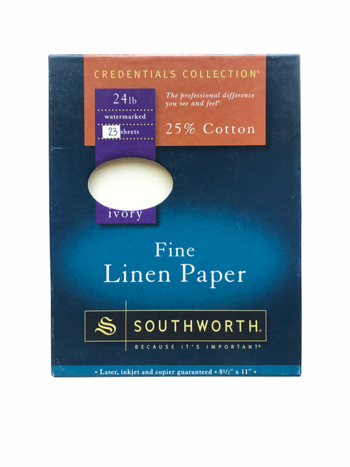 """Southworth Paper Credentials Collection Fine Linen Paper Ivory 8.5 x 11"""" 24lb 23 Sheets"""