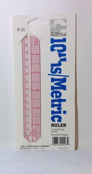 Westcott B-55 Beveled Edge 10ths/Metric RULER