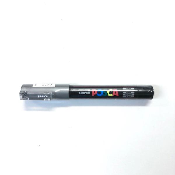 Uni Posca Metallic PC-1M Silver Acrylic Water-Based Paint Pen Bullet Shaped 0.7mm
