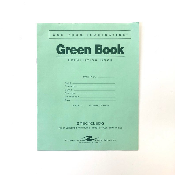 Green Book Recycled Examination Book Lined Paper Standard Ruled Front