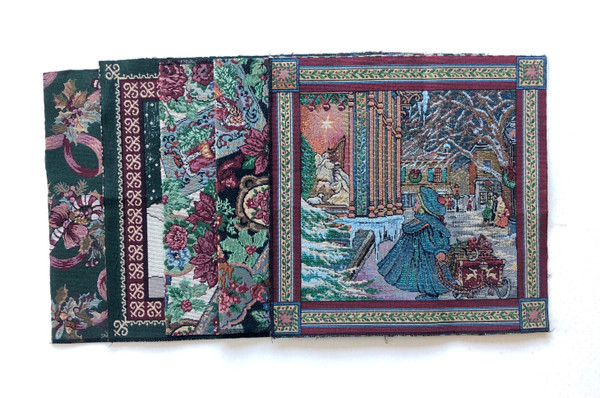 """Tapestry Woven Christmas Pillow Panels 13 1/2"""" Square 19 Count"""