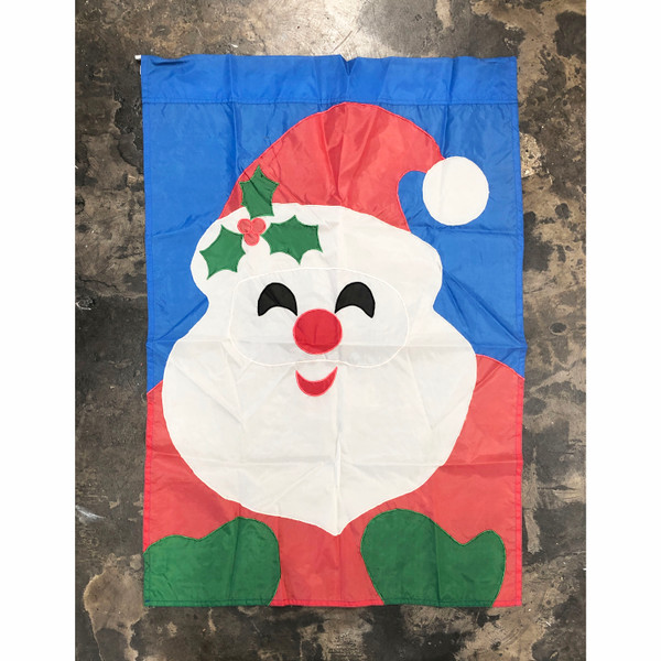 Vintage Outdoor Santa Flag Appliqued Polyester 27 x 39""
