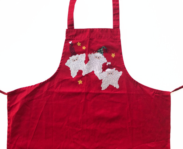 UFO Unfinished Object Three Santa Stars Applique on Red Apron