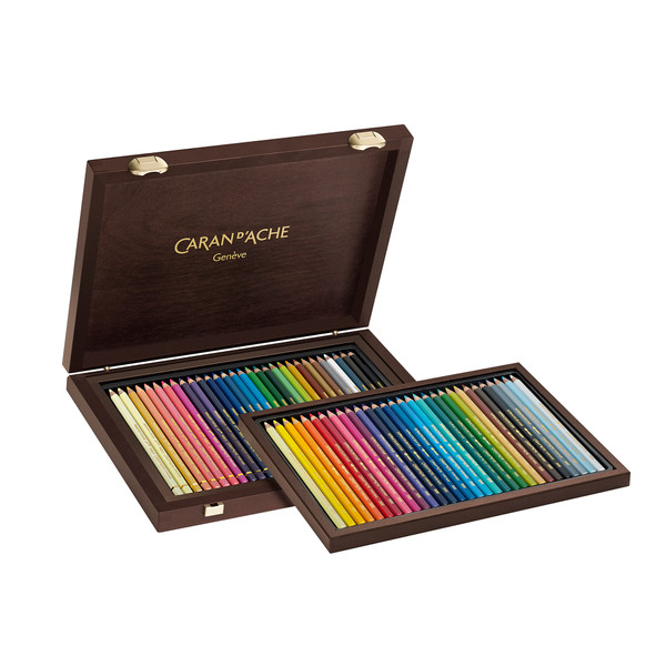 Caran D'Ache Supracolor Soft Aquarelle Watercolor + Pablo Colored Pencils Wooden Box 60 Count