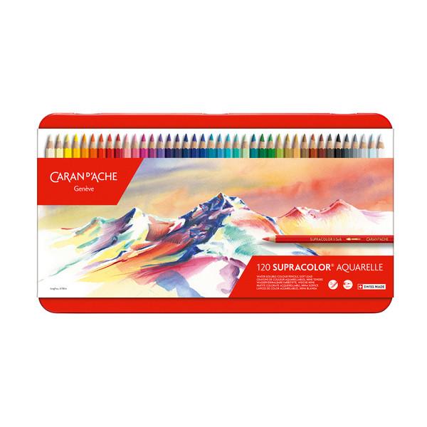 Caran D'Ache Supracolor Soft Aquarelle Watercolor Pencils Metal Box 120 Count