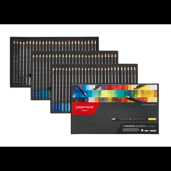 Caran D'Ache Museum Aquarelle Water-Soluble Colored Pencils Box 78 Count