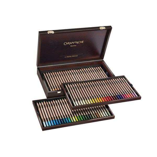 Caran D'Ache Pastel Pencils Wooden Box 84 Count