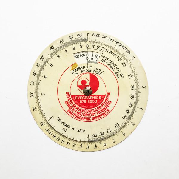 "Vintage Eyegraphics Promotional 6"" Proportional SCALE Wheel for Enlargement & Reduction"