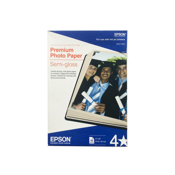 """Epson Premium Photo Paper Semi-Gloss 4 x 6"""" 40 Sheets"""