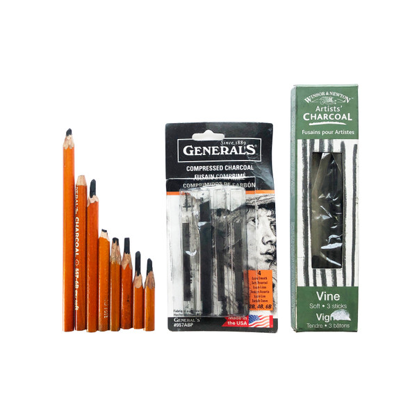 Pre-Owned Vine and Compressed Charcoal Drawing Assortment