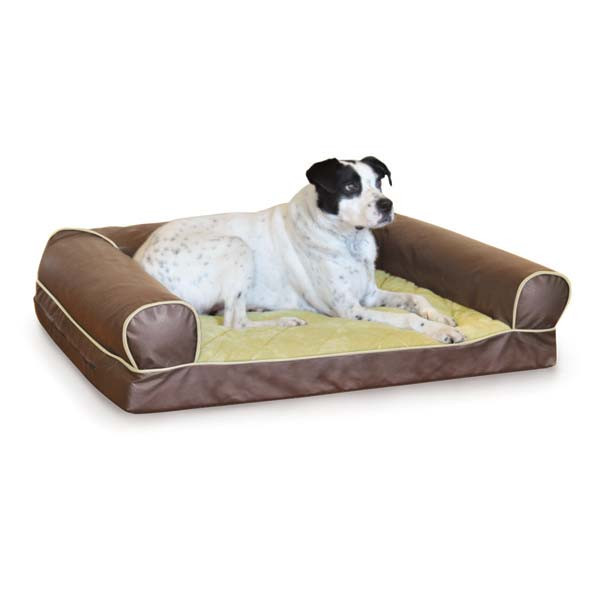 "K&H Pet Products Thermo-Cozy Sofa Pet Bed Small Milk Chocolate 25"" x 19"" x 8"""