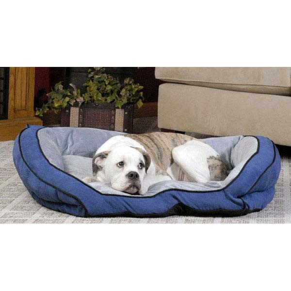 """K&H Pet Products Bolster Couch Pet Bed Large Blue / Gray 28"""" x 40"""" x 9"""""""