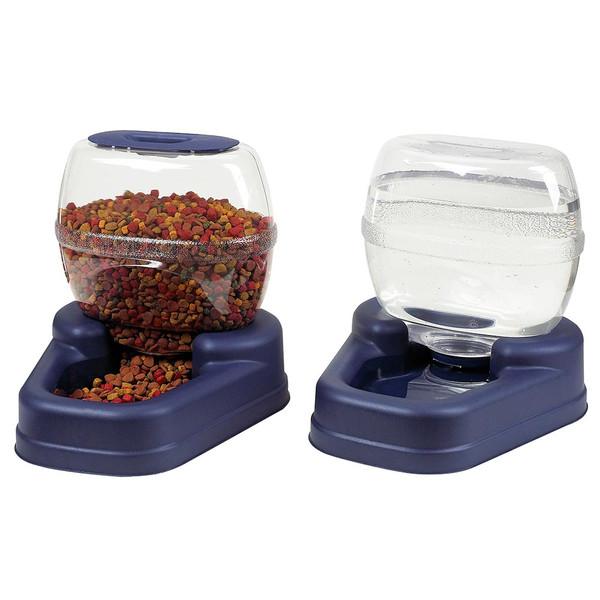 "Bergan Petite Gourmet Combo Pack Pet Feeder and Waterer Blue 13"" x 11.5"" x 11.25"" each"