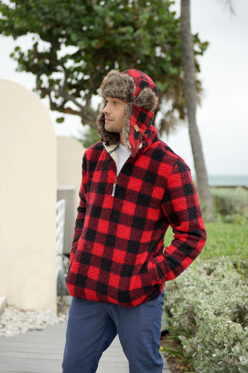 SHERPA PULLOVER RED BUFFALO PLAID