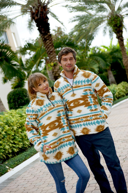 SHERPA PULLOVER TURQUOISE ARROWS