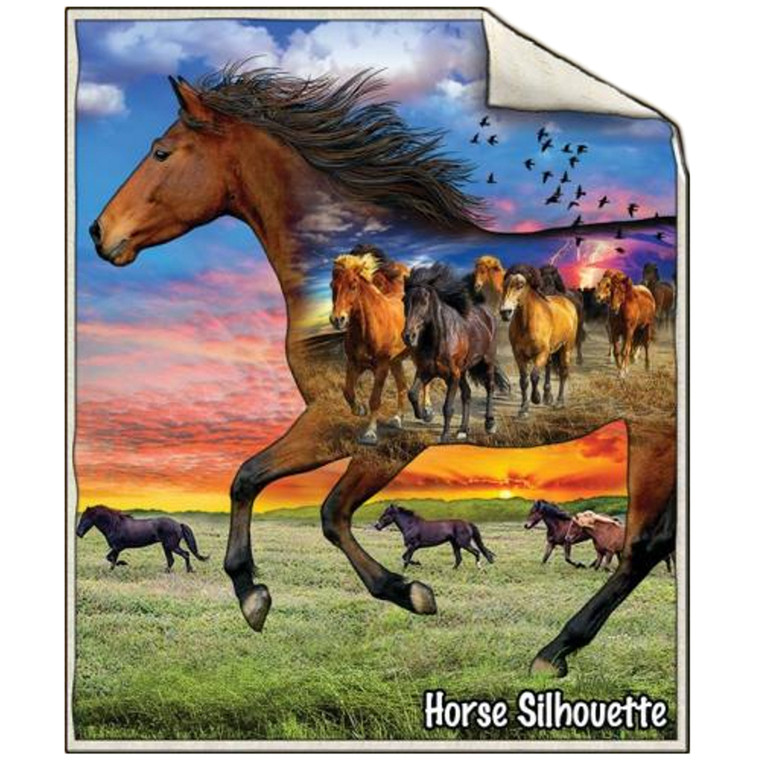 SHERPA THROW HORSE SILHOUETTE
