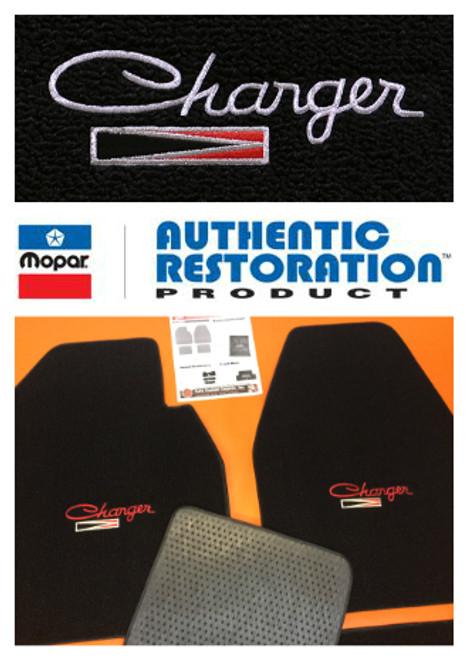 1966-1974 Dodge Charger Floor Mats ( Charger W/ Emblem Logo )