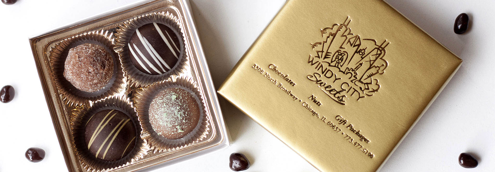 Elegant Chocolate Truffles in Our Gold Gift Boxes