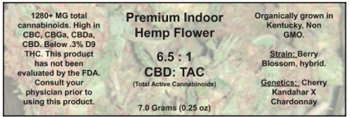 1/4 ounce Berry Blossom hemp flower (18%  CBD,CBG,CBC, Cannabinoids)