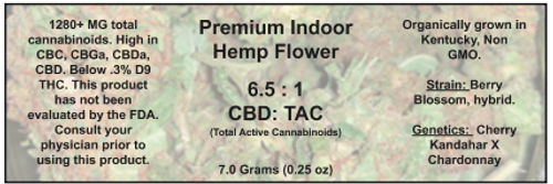 1/4 ounce Berry Blossom hemp flower (18%  CBD,CBG,CBC, Cannabinoids)