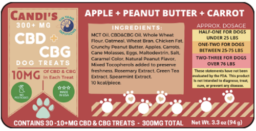 Peanut Flavored, all Natural CBD and CBG Dog Treats (30 count)
