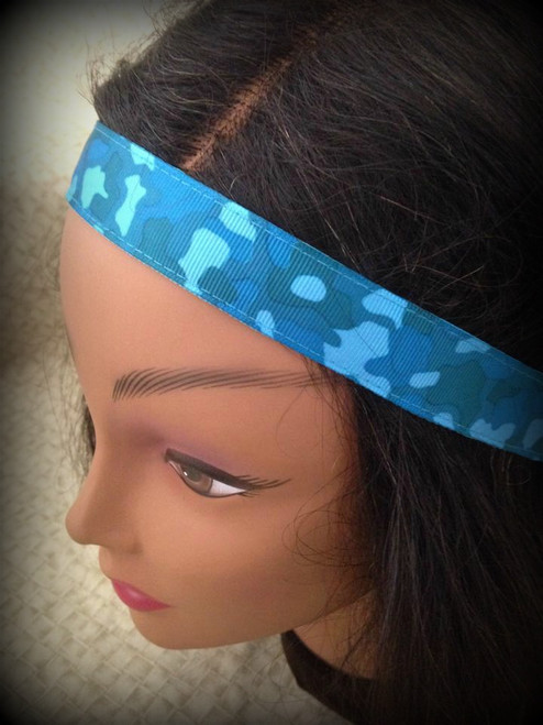 Shaka Girl Headband - Camo Blue 1""