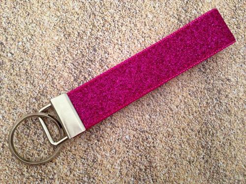"Keychain Wristlet - Glitter Hot Pink 9"""