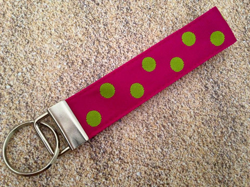 """Keychain Wristlet - Tropical Dots Hot Pink/Lime 9"""""""