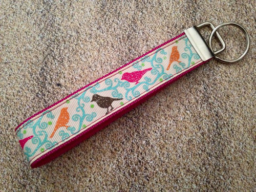 Keychain Wristlet - Autumn Whimsy Glitter Sparrows 10""
