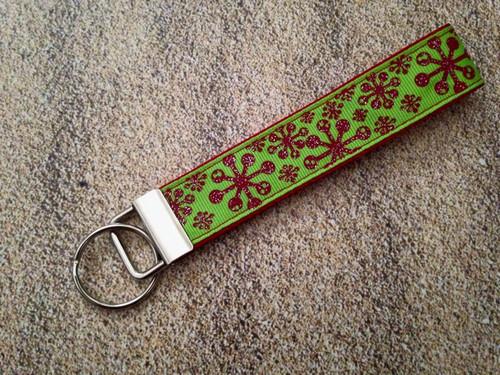 "Keychain Wristlet - Snowflake Glitter 9"""