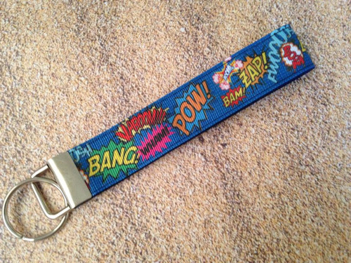 Keychain Wristlet - Comic Bubbles Blue 10""