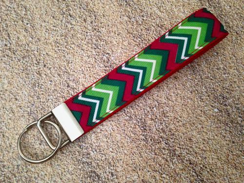 "Keychain Wristlet - Christmas Chevron 9"""