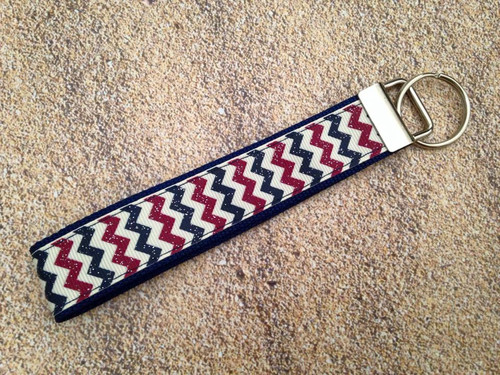 Key Leash - Antique 4th of July Chevron 10""