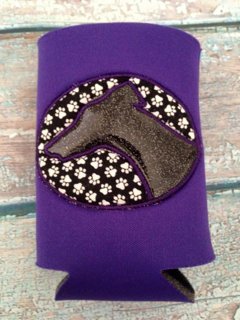 Can Koozie - Greyhound Head Sparkle Black on Purple