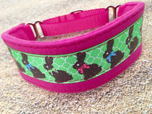 "Premade Chocolate Bunnies Pink Hound Collar 9-10"""