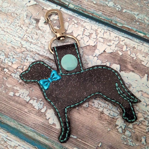 Bag Tag Novelty Keyfob - Lab Black Glitter Turquoise with Bow