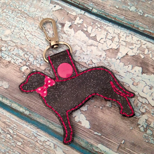 Bag Tag Novelty Keyfob - Lab Black Glitter Hot Pink with Bow