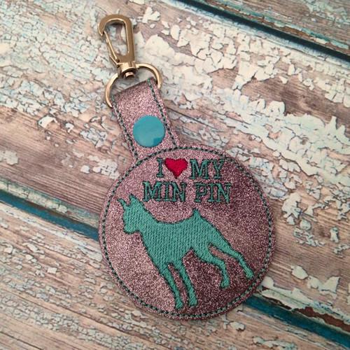 Bag Tag Novelty Keyfob - I Love My Min Pin Gunmetal Glitter