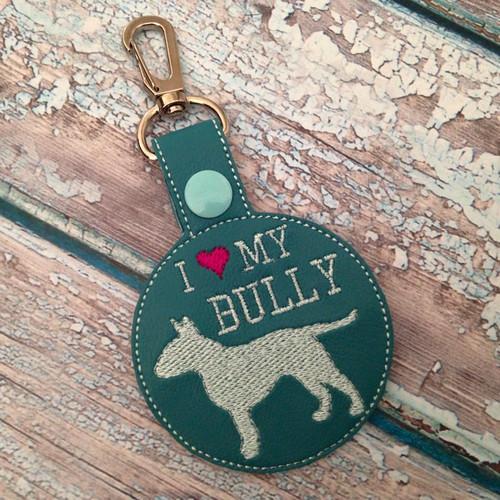Bag Tag Novelty Keyfob - I Love My Bully Turquoise